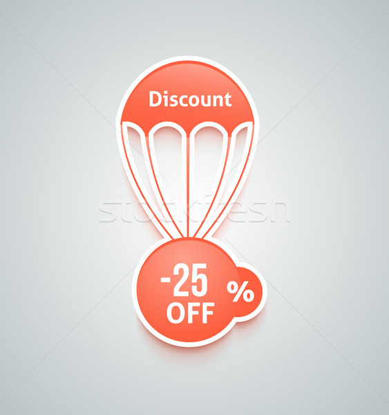 Korting parachute ingesteld papier Rood tekst Stockfoto © robuart