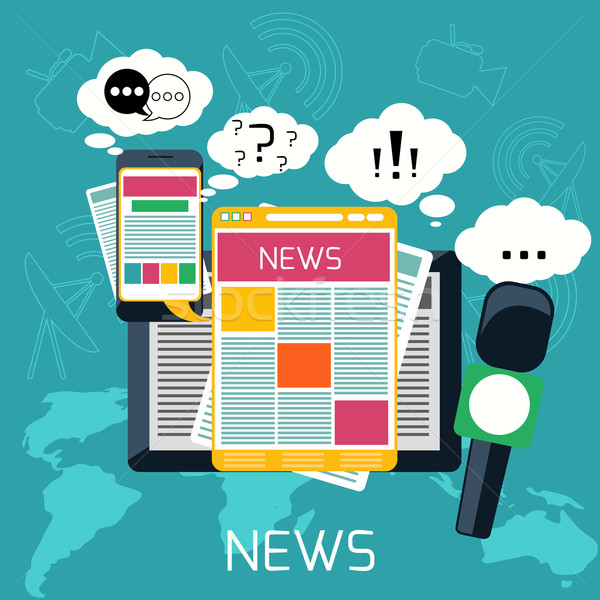 Mass media concept news radio newspaper Stock photo © robuart