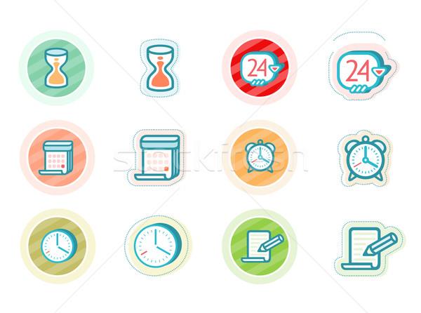 Tijd datum iconen cartoon ontwerp stijl Stockfoto © robuart