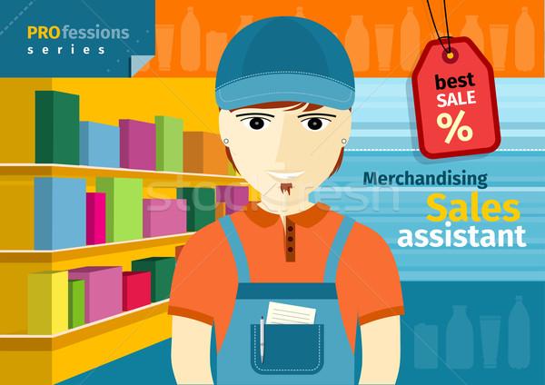 Homme ventes assistant uniforme travail profession Photo stock © robuart