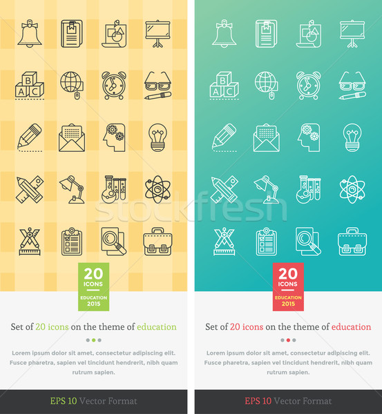 Ingesteld iconen onderwijs chemie wiskunde grammatica Stockfoto © robuart