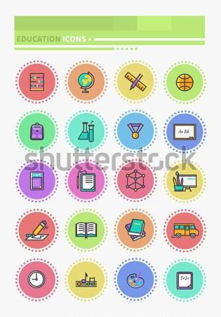 Médecine icônes léger lignes Photo stock © robuart
