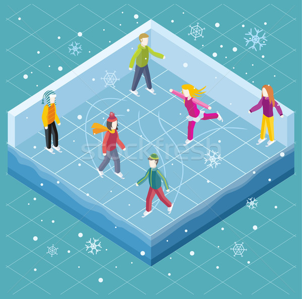 Ice Rink with People Isometric Style Stock photo © robuart