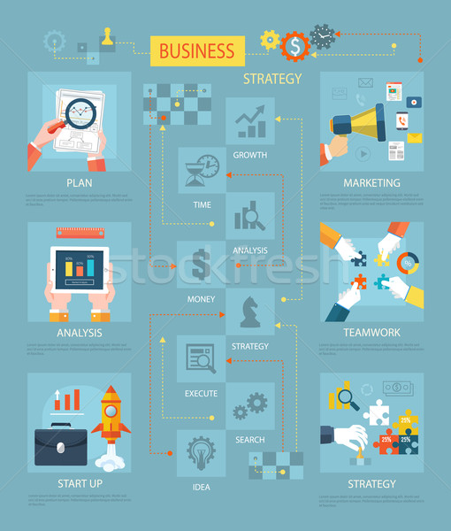 Estrategia de negocios plan comercialización análisis trabajo en equipo inicio Foto stock © robuart