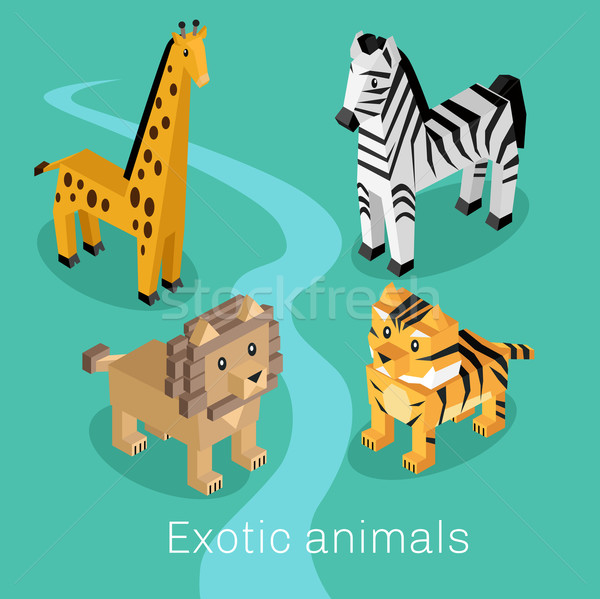 Exotic Animal Set Isometric 3d Design Stock photo © robuart