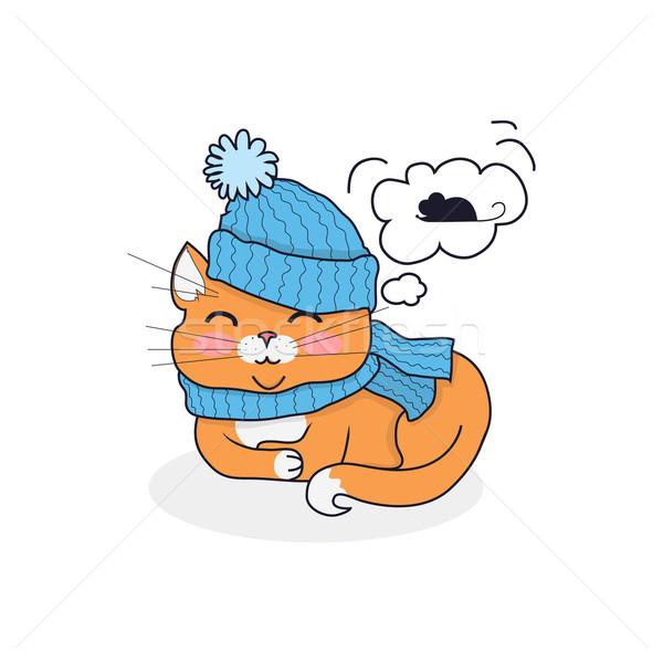 Stockfoto: Slapen · kat · hoed · sjaal · ontwerp · kitten