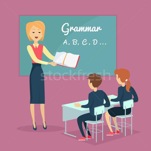 Gyerekek nyelvtan tanít illusztráció gyerekek vektor Stock fotó © robuart