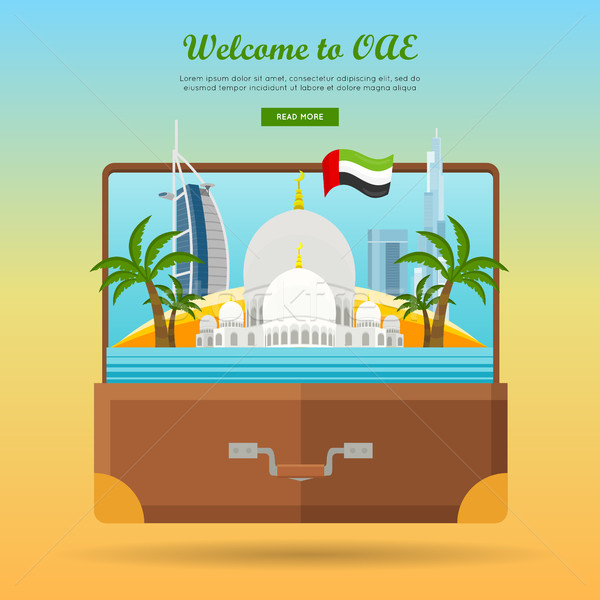 United Arab Emirates Travelling Banner. Suitcase Stock photo © robuart