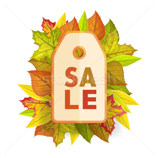 Autumn sale tag label template. Fall Pricetag Stock photo © robuart