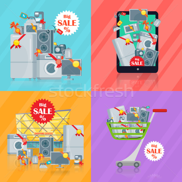 набор Баннеры домашнее хозяйство электронной коммерции кухне Сток-фото © robuart