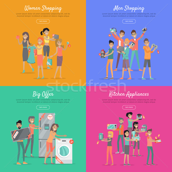Shopping on Sale Flat Vector Web Banners Set Stock photo © robuart