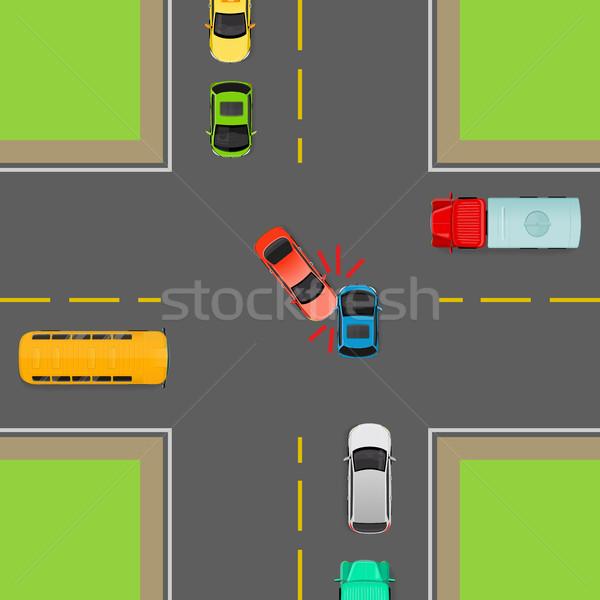 一般的な トラフィック ルール ターン 事故 ストックフォト © robuart
