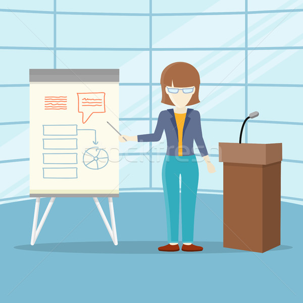 Foto stock: Negócio · treinamento · vetor · projeto · palestra · mulher