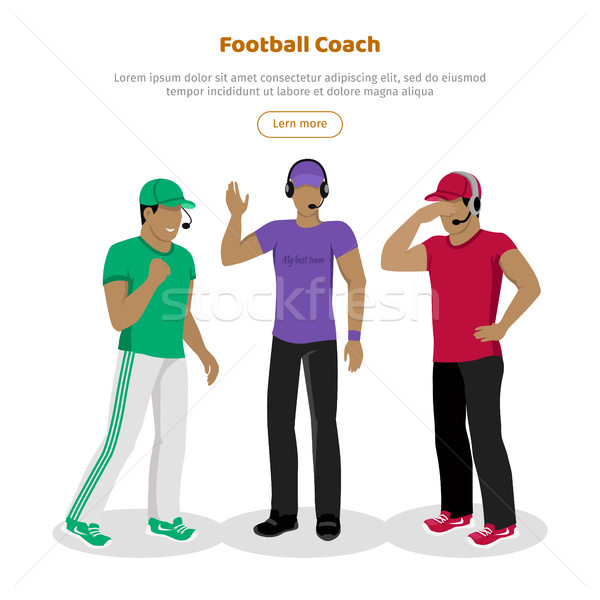 Football Coaches Web Banner Cartoon Soccer Referee Stock photo © robuart