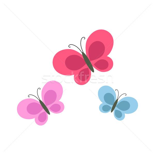 Brilhante desenho animado borboletas isolado ilustração roxo Foto stock © robuart