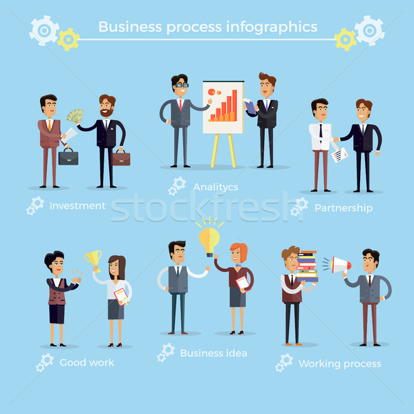 Business Process Infographics Collection on Blue Stock photo © robuart