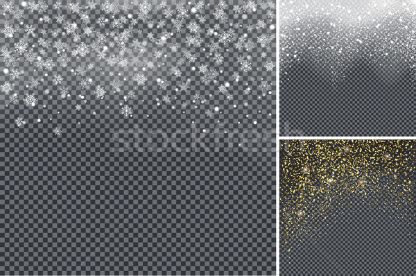 Snow Confetti on Transparent Background Poster Stock photo © robuart