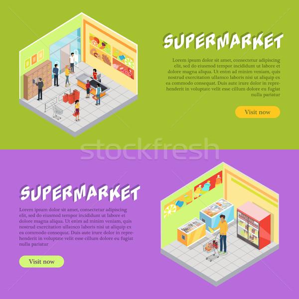 ストックフォト: スーパーマーケット · アイソメトリック · ウェブ · バナー · セット · 投影
