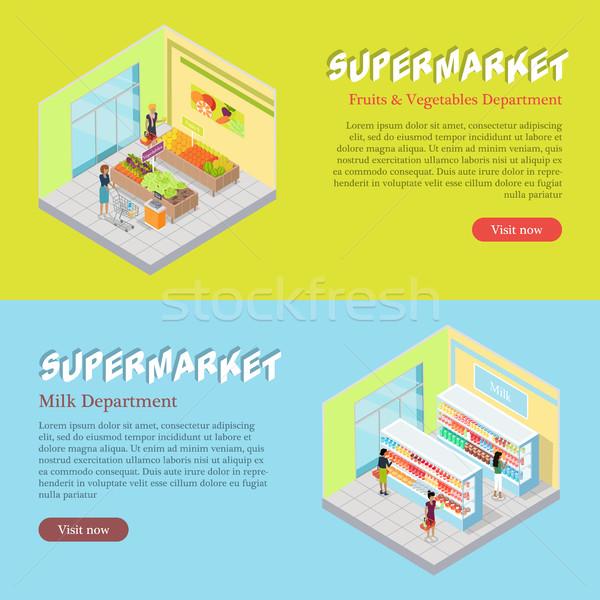 Stock photo: Supermarket Departments Isometric Web Banners Set