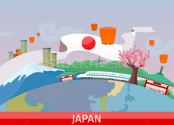 Japanese Tourist Attractions Flat Vector Concept   Stock photo © robuart