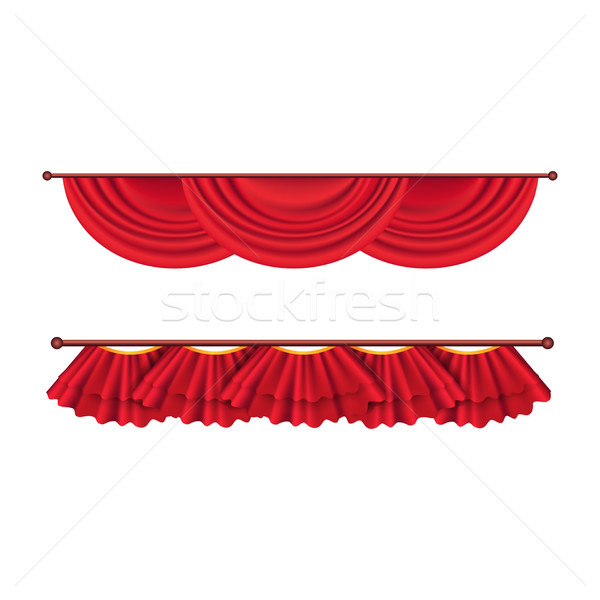 Short Ceiling Red Curtains Set. Theatre Decoration Stock photo © robuart