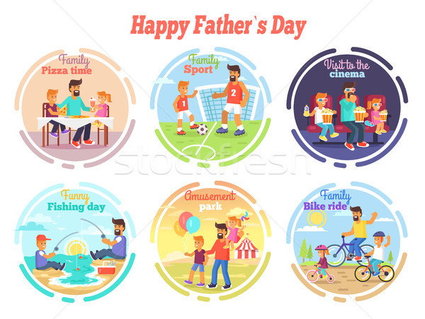Happy Fathers Day Celebration Set of Illustrations Stock photo © robuart