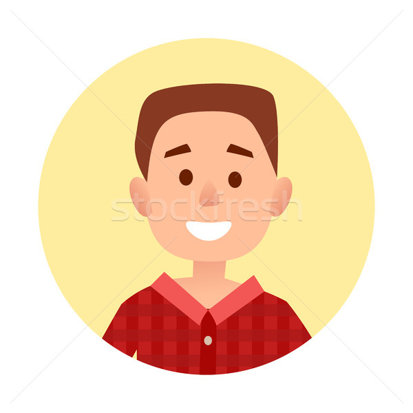 Cartoon Little Boy Portrait In Circle Illustration Stock photo © robuart