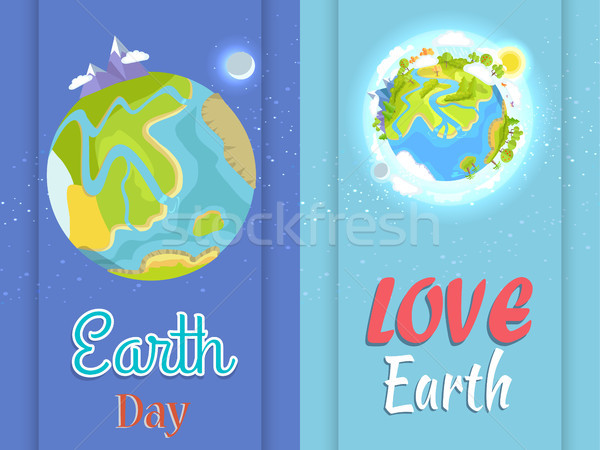 Love Earth Day Poster with Planet in Night and Day Stock photo © robuart