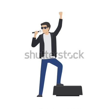 ロックスター 歌う マイク サングラス ストックフォト © robuart