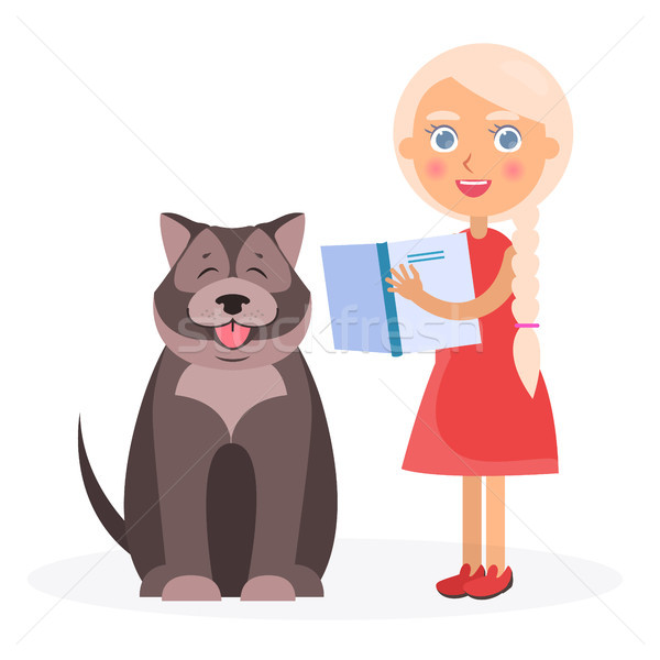 Pretty Girl with Book and Tibetan Mastiff on White Stock photo © robuart