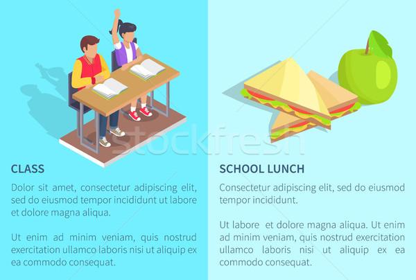 Classe dois estudantes maçã sanduíche menino Foto stock © robuart