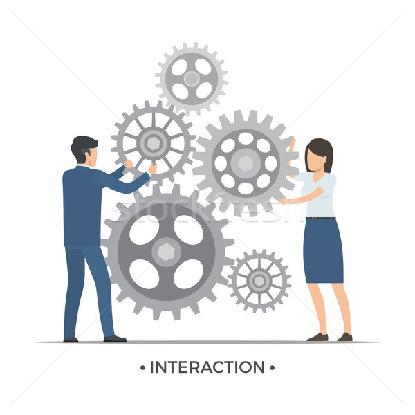 Interaction People and Gears Vector Illustration Stock photo © robuart