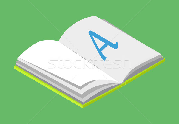 Open Book with Blank Paper and Letter A Vector Stock photo © robuart