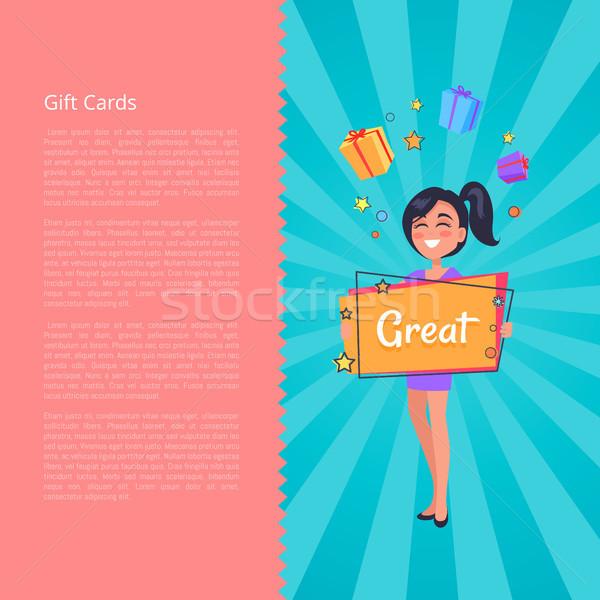 Geschenkkarte lächelnd Mädchen träumen Boxen präsentiert Stock foto © robuart