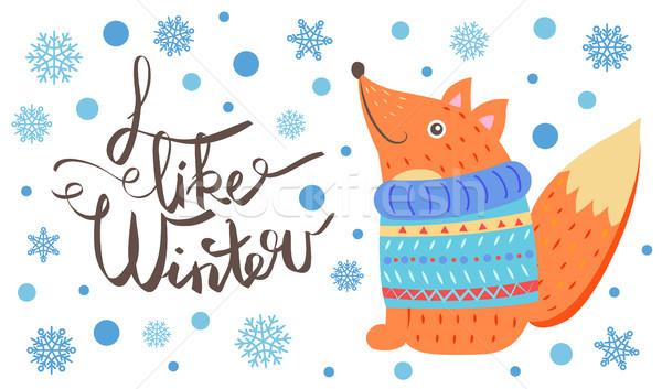 Wie Winter Postkarte lächelnd Fuchs Pullover Stock foto © robuart