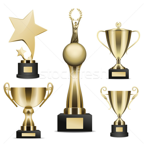 Golden Trophy Cups Realistic Vector Collection Stock photo © robuart