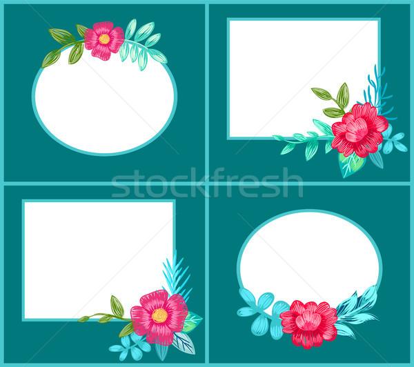 Ayarlamak kartpostallar çiçekler karanlık mavi kare Stok fotoğraf © robuart