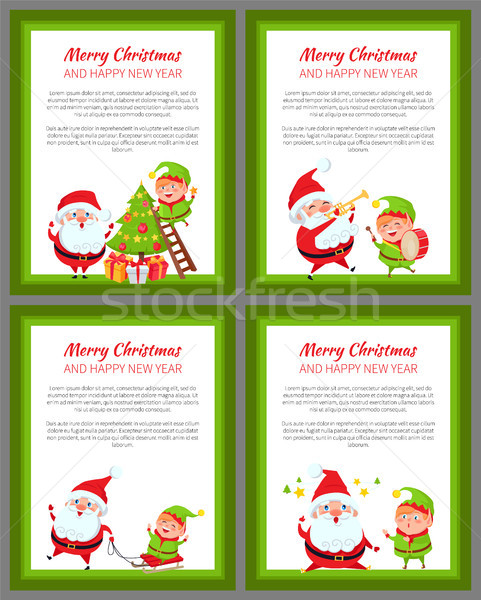 Four Merry Christmas and Happy New Year Banners Stock photo © robuart