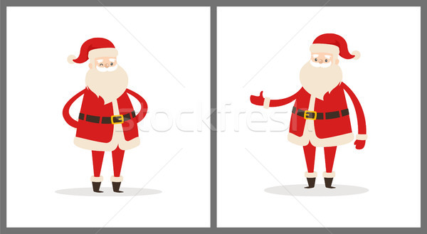 Set of Santa Clauses in Different Pose Vector Icon Stock photo © robuart