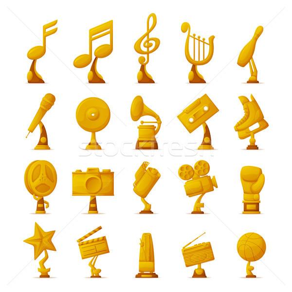Trofeo colección iconos dorado objetos Foto stock © robuart