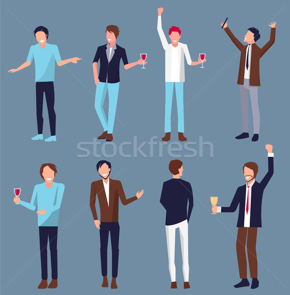 Set of Men Icons Partying Vector Illustration Stock photo © robuart