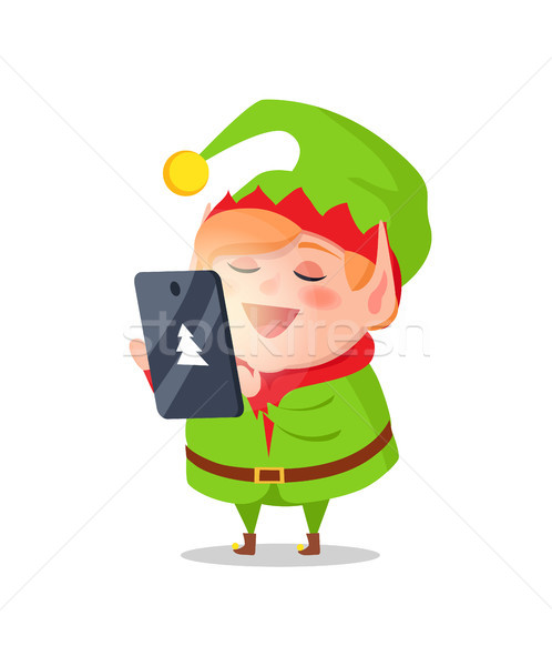 Elf Cartoon Character Takes Orders on Gifts Tablet Stock photo © robuart