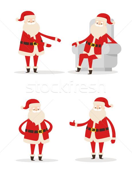 Stockfoto: Kerstman · gebaren · ingesteld · ouderen · man · lang