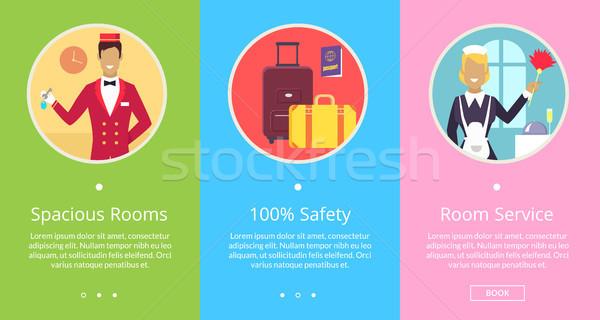 Tágas szobák 100 biztonság felső szolgáltatás Stock fotó © robuart