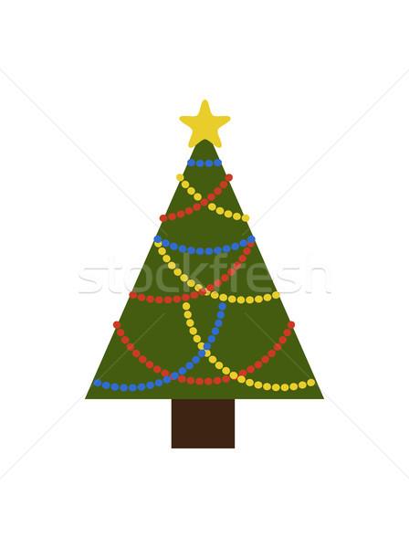 örökzöld karácsonyfa színes arany csillag dekoratív Stock fotó © robuart