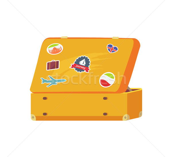 Stock photo: Open Retro Suitcase with Memory Sticker Sailboat