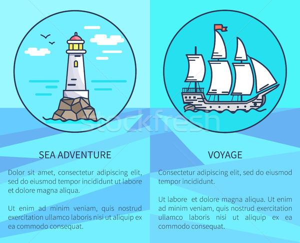 Zestaw plakaty latarni statku reklamy Zdjęcia stock © robuart