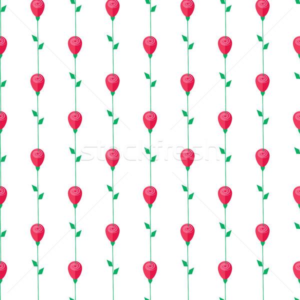 Czerwona róża trzon pozostawia zielone odizolowany Zdjęcia stock © robuart
