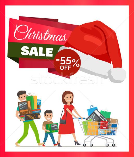 Natal venda promo cartaz mãe filho pai Foto stock © robuart