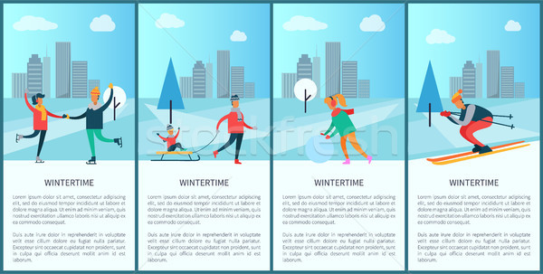 Wintertime Posters with Text Vector Illustration Stock photo © robuart